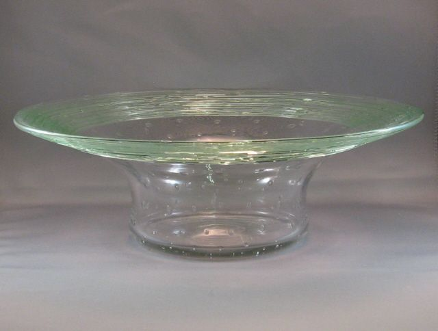Fry Clear & Green Threaded Bowl