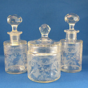 SALE French Dresser Set 3 Bottles & 1 Jar