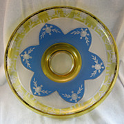 SALE Vaseline & Blue Cut To Clear Engraved Bowl