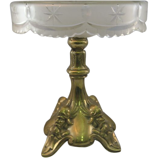 Cut Glass Compote With Metal Base
