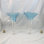 SALE Pair of  Epergne Vases Clear With Blue Threading