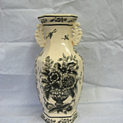 SOLD Black Transferware Handled Vase