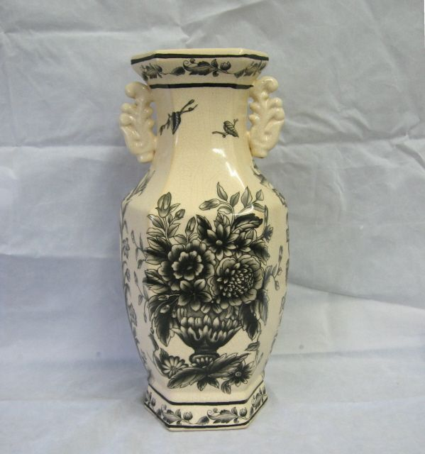 Black Transferware Handled Vase