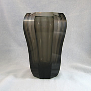 SALE Signed Moser Smoke Colored Vase
