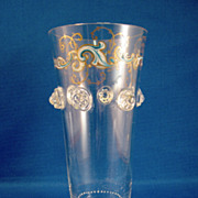 SALE Clear & Enamel Ale Glass