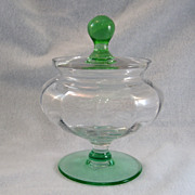 SALE Clear & Green Covered Jar