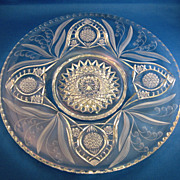 "SOLD Fry Lily of the Valley 12"" Cut Glass Plate"