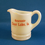 SALE Custard Glass Souvenir Creamer Clear Lake Louisiana