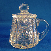 SALE Cut Glass Handled Jar