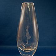 SALE Kosta Boda Vase With Engraved Figure