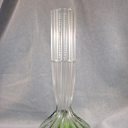 SALE Victorian Cut Glass Clear & Green Vase