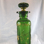 SALE US Glass Green Bohemian Pattern Cologne