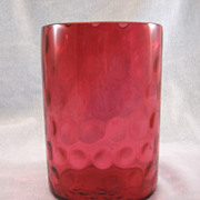 SOLD Cranberry Polka Dot Pickle Jar