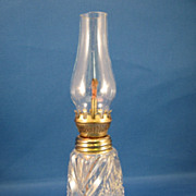 SALE American Brilliant Cut Glass Kerosene Miniature Lamp