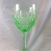 SALE Green Cut Glass Wine Glass