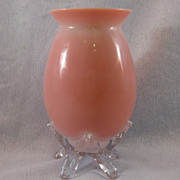 SALE Victorian English  Peach Blow Vase with Clear Applied Base