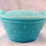 SALE Miniature Robins Egg Blue Victorian Basket With Lid