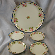SALE Nippon Hand Painted Serving Tray & 4 Small Dishes