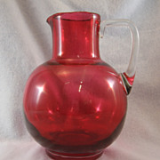 SALE Victorian Cranberry Pitcher