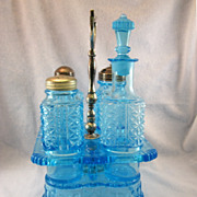 SALE Victorian Blue Pressed Glass Cruet Stand With Bottles