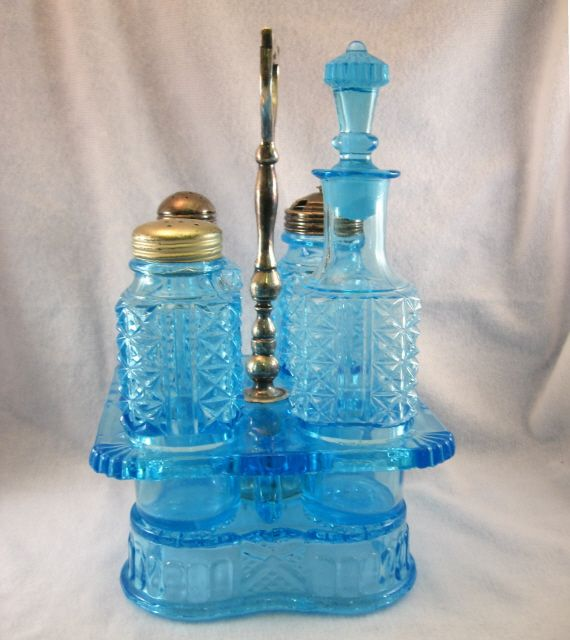 Victorian Blue Pressed Glass Cruet Stand With Bottles