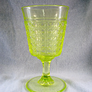 SALE McKee Hobnail Vaseline Goblet