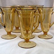 SALE 6 Fostoria Light Brown Priscilla Pattern Art Deco Footed Tumblers