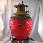 SALE Victorian Red Glass & Metal Lamp