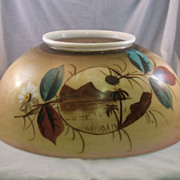 "SALE 14"" Kerosene Library Shade With Tropical Design"