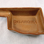 SALE Frankoma Dark Brown Oklahoma Ashtray