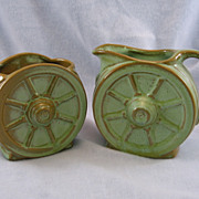 SALE Frankoma Wagon Wheel Sugar & Creamer Prairie Green