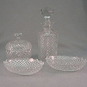 SALE Val St Lambert 4 Piece Vanity Set With Cologne, Pin Trays And Covered Jar