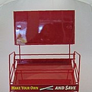 SALE Vintage Red Metal Tobacco Stand
