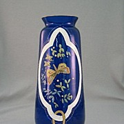 SALE 1920's English Victorian Style Dark Blue Glass Vase With Enameling
