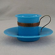 SALE 1890 Blue Peking Glass Cup And Saucer With Metal Handle