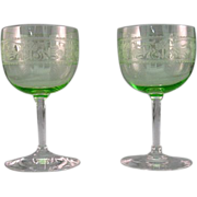SALE Pair Of 1920's Wine Glasses Clear And Green With Etching