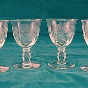SALE 4 Heisey Rose Cocktails 1940's