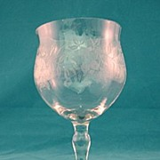 SALE 1920's Floral Etched Wine Goblet