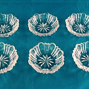 SALE 6 American Brilliant Cut Glass Nut Dishes 1900