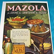 SALE Mazola Oil Ad With Indian Maiden  Circa 1920
