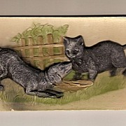 SALE PFB Postcard Embossed Cat And Dog