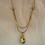 SALE Gold Colored Necklace With Leaf Pendant Circa 1970's