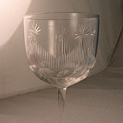 SALE Clear Cut Glass Wine Glass With Cut Stars Circa 1900