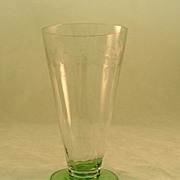 SALE Hawkes Glass With Green Base Killarney Pattern Circa 1920