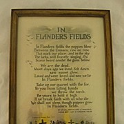 SALE Reinthal and Newman In Flanders Fields World War I Motto Print Circa 1920
