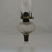 SALE Kerosene Lamp With Pressed Glass Font & Clambroth Base