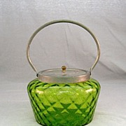 SALE Green Art Glass Tea Caddy Circa 1920's