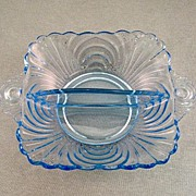 SALE Cambridge Blue Caprice Divided Dish Circa 1940's