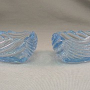 SALE Pair Cambridge Blue Caprice Cigarette Holders Circa 1940's