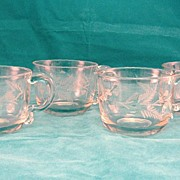 SALE 4 American Cut Glass Punch Cups Circa 1865-1870